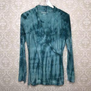 Soft Surroundings Tie Dye Wrap Stretch Knit Top